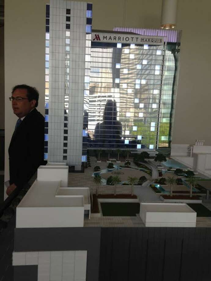 Model of the 30-story Marriott Marquis planned for 2.6 acres across from the George R. Brown Convention Center. Photo: Erin Mulvaney