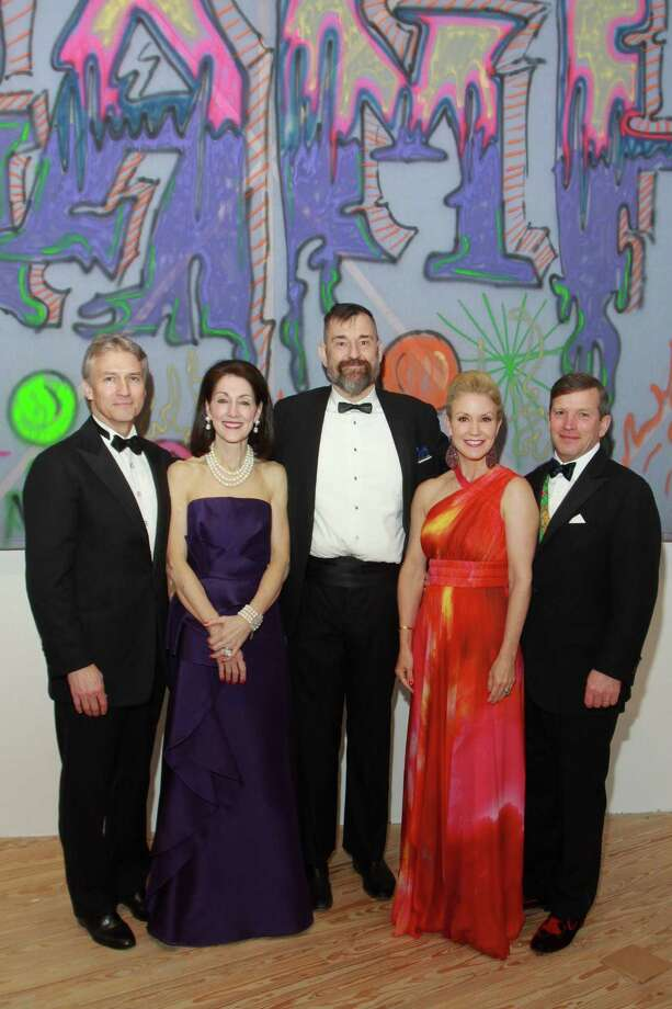 "(For the Chronicle/Gary Fountain, April 4, 2014) Sanford and Susie Criner, from left, CAMH director Bill Arning, and Marita and J.B. Fairbanks at the Contemporary Arts Museum Houston's ""Keeping It Now"" Gala and Art Auction celebrating the museum's 65th anniversary. The Criners and Fairbanks are co-chairs for the gala. Photo: Gary Fountain, Freelance / Copyright 2014 by Gary Fountain"