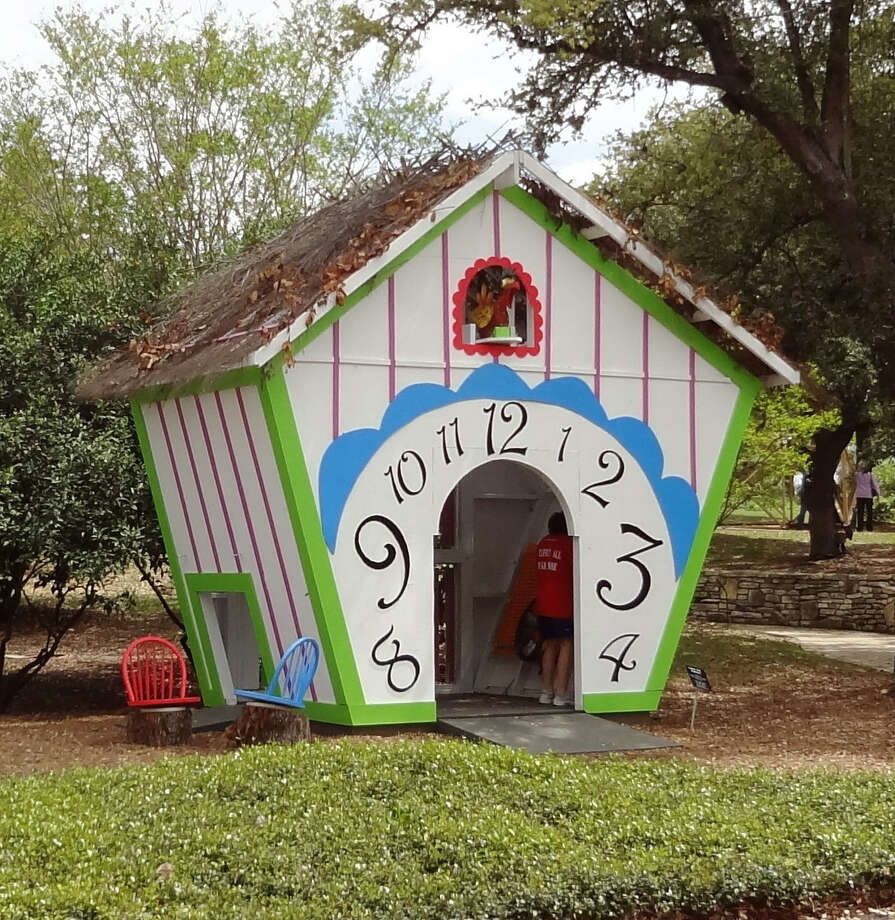 Found and recycled materials come back to life in the whimsical Cuckoo Bird Playhouse, designed by Rebecca Krohn, MSA Architecture + Interiors. Interior features include a music wall and whirling wall. Kids also can operate the cuckoo in his slot up top. Photo: Photo By Steve Bennett