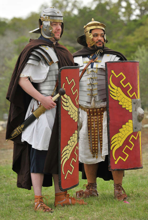 Charles Benson (left) and Guy Douglas Jr.  are part of a group that does living history presentations as Roman soldiers. Photo: Robin Jerstad
