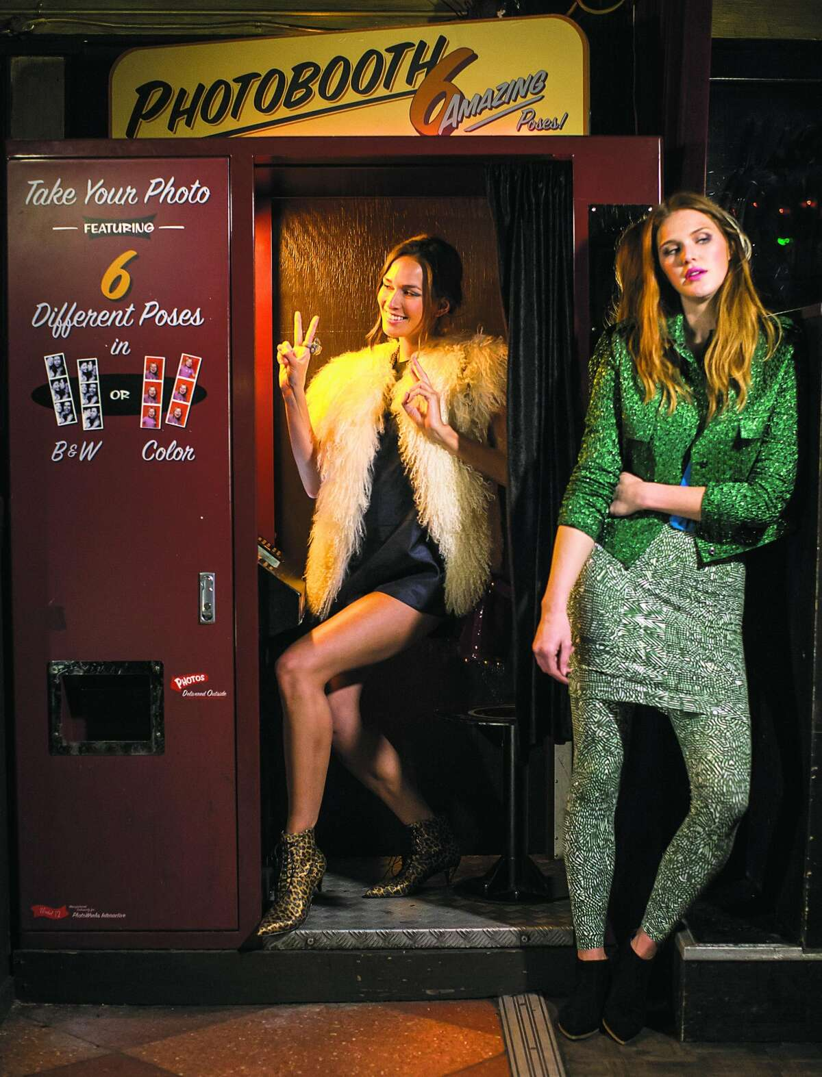 First stop, Elbo Room: Mei-Ling (left) is photo booth-ready in a Cameo romper, $152, from BellJar, 3187 16th St., S.F.; vintage goat vest, $300, Ver Unica; Saint Laurent leopard boots, $895, Barneys New York; bird necklace, $59, Zara; stone ring, $150, Azalea; velvet handbag, Opening Ceremony, stylist's own. Adair's in a Lanvin jacket, $3,540, Saks Fifth Avenue; vintage blue velvet top, $28, from Pretty Penny, 1201-A Guerrero St., S.F.; Gravel & Gold Goods leggings, $88, skirt, $69, Gravel & Gold, 3266 21st St., S.F.; Miu Miu boots, $595, Barneys.