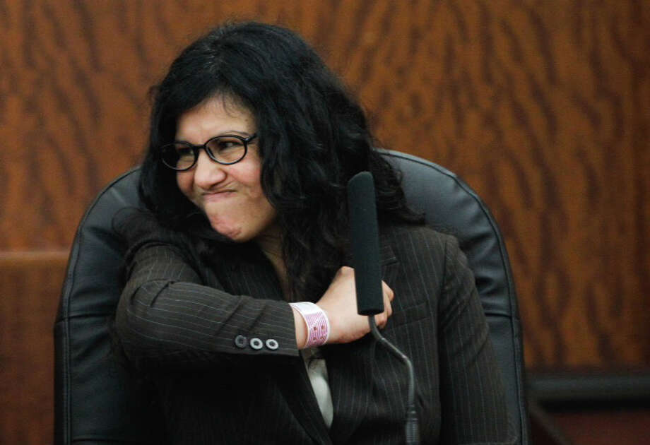 Convicted killer Ana Trujillo testifies in the punishment phase of her trial Thursday, April 10, 2014, in Houston. Trujillo was convicted in the brutal 2013 slaying of her boyfriend, Alf Stefan Andersson, using a 5-inch stiletto shoe. ( Brett Coomer / Houston Chronicle ) Photo: Brett Coomer/Houston Chronicle