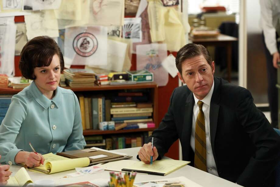 "Peggy's brief affair with Ted Chaough (right, played by Kevin Rahm) promises to continue to cast a shadow over season seven.   As Peggy rises in the ad world her style continues to get more sophisticated.   ""Janey has really kept the costumes true to the spirit of the decade,"" Tom and Lorenzo agree. ""She looks to the real people of the era."" Photo: Michael Yarish, Associated Press"