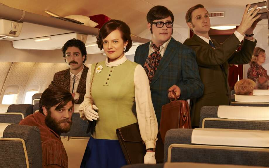 "Elisabeth Moss, Jay R. Ferguson, Ben Feldman, Rich Sommer and Aaron Staton in ""Mad Men"" season seven promotional photos.  ""California is going to affect the story and the clothes hugely in the new season,"" Tom and Lorenzo agree. Photo: Frank Ockenfels 3, AMC"