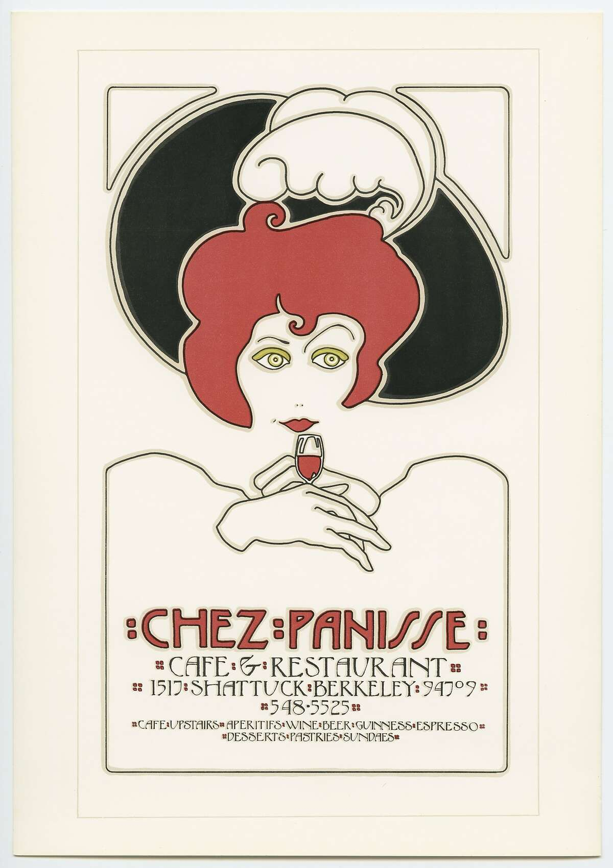 The first of many Chez Panisse posters by artist David Goines. This illustration was on the cover of the restaurant's matchboxes for 15 years, until the restaurant became nonsmoking. It is a drawing of Martine Labro, an artist who designed the first poster for Chez Panisse. Labro's poster was hung out front of the restaurant on the day it opened, Aug. 26, 1971, but was stolen that same night.