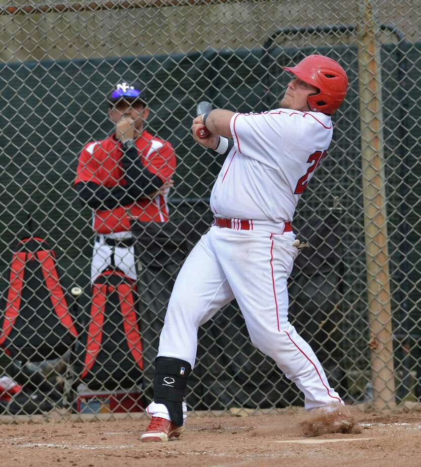 High school baseball game between Greenwich High School and New Canaan High School at Greenwich, Friday afternoon, April 11, 2014. Photo: Bob Luckey / Greenwich Time