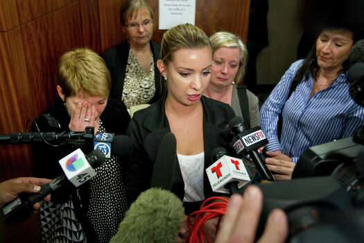 Ylva Olofsson, niece of murder victim Alf Stefan Andersson, speaks for her family after Andersson's killer Ana Trujillo was sentenced to life in prison for his murder on Friday, April 11, 2014, in Houston. Trujillo was convicted of Andersson's 2013 slaying using a 5-inch stiletto shoe. Photo: Brett Coomer, Houston Chronicle / © 2014 Houston Chronicle