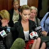 Ylva Olofsson, niece of murder victim Alf Stefan Andersson, speaks for her family after Andersson's killer Ana Trujillo was sentenced to life in prison for his murder on Friday, April 11, 2014, in Houston. Trujillo was convicted of Andersson's 2013 slaying using a 5-inch stiletto shoe.