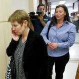 Marie Andersson Bremberg, sister of murder victim Alf Stefan Andersson, leaves the courtroom with her family after Andersson's killer Ana Trujillo was sentenced to life in prison for his murder on Friday, April 11, 2014, in Houston. Trujillo was convicted of Andersson's 2013 slaying using a 5-inch stiletto shoe.