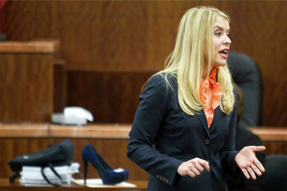 Prosecutor Sarah Mikelson gives her closing argument in the punishment phase of the trial against convicted killer Ana Trujillo on Friday, April 11, 2014, in Houston. Trujillo was convicted in the brutal 2013 slaying of her boyfriend, Alf Stefan Andersson, using a 5-inch stiletto shoe. Photo: Brett Coomer, Houston Chronicle / © 2014 Houston Chronicle