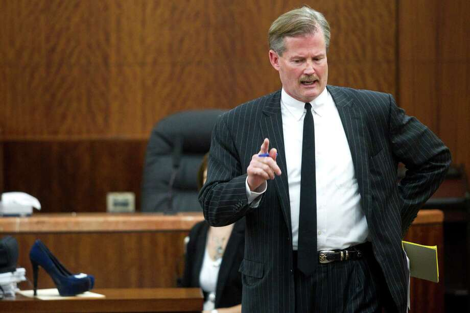 Defense attorney Jack Carroll gives his closing argument in the punishment phase of the trial against his client, convicted killer Ana Trujillo, on Friday, April 11, 2014, in Houston. Trujillo was convicted in the brutal 2013 slaying of her boyfriend, Alf Stefan Andersson, using a 5-inch stiletto shoe. Photo: Brett Coomer, Houston Chronicle / © 2014 Houston Chronicle