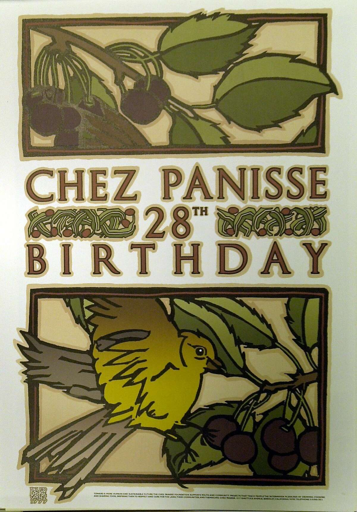 GOINES-C-14AUG01-FD-JRS-Copy shots Chez Panisse menus and posters by artist David Goines.