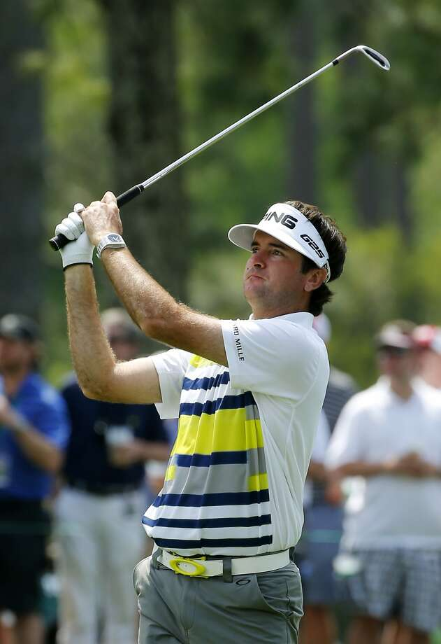 Bubba Watson hits from the fairway on No. 17. He parred the hole in a round of 68. Photo: Jack Gruber, Reuters