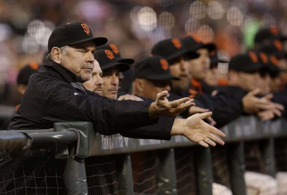 Bruce Bochy sent three of his five bench players to pinch hit Thursday. None got on base. Photo: Jeff Chiu, Associated Press