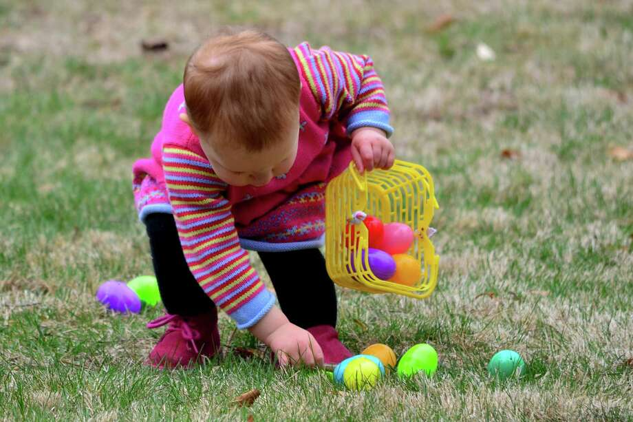 Children went hunting for Easter eggs on the front lawn of the Darien Community Association on Friday, April 11. Photo: Megan Spicer / Darien News