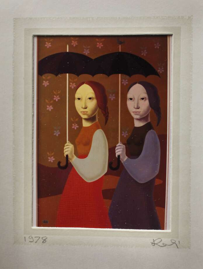 "A photograph of ""Umbrellas"" by Hanna ""Kali"" Weynerowska is seen in a Christmas card dated 1978 to Angeline Friedman during a press conference at the Phillip Burton Federal Building and United States Courthouse on Friday, April 11, 2014,  in San Francisco, Calif.  This piece was among the pieces of art lost that the artist had donated to The Polish Museum in Rapperswil, Switzerland in 1998 and where the returned paintings will be housed and displayed. Photo: Lea Suzuki, The Chronicle"