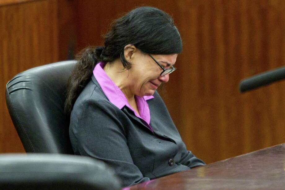 The prosecution's closing arguments bring convicted killer Ana Trujillo to tears Friday, but jurors were unmoved by her claims of self-defense. The 45-year-old will be eligible for parole in 30 years. Photo: Brett Coomer, Staff / © 2014 Houston Chronicle