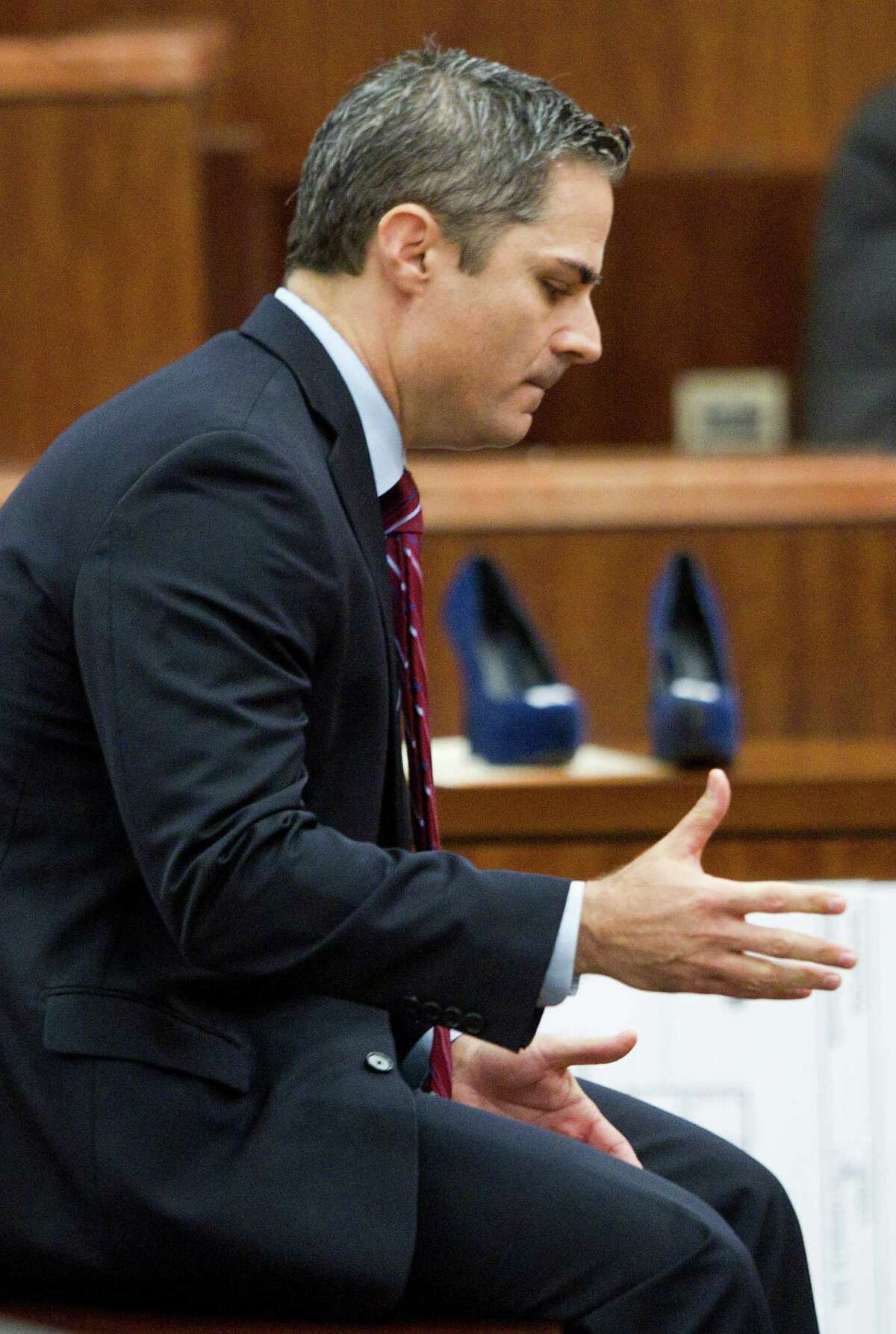 Prosecutor John Jordan gives his closing argument in the punishment phase of the trial against convicted killer Ana Trujillo on Friday, April 11, 2014, in Houston. Trujillo was convicted in the brutal 2013 slaying of her boyfriend, Alf Stefan Andersson, using a 5-inch stiletto shoe. ( Brett Coomer / Houston Chronicle )