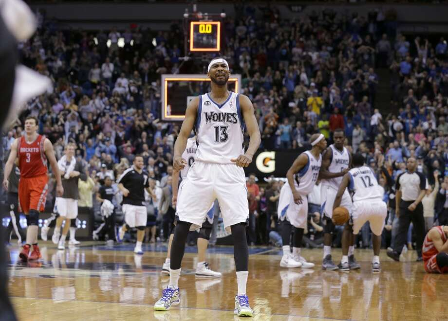 Timberwolves forward Corey Brewer reacts after the Timberwolves defeated the Rockets. Photo: Ann Heisenfelt, Associated Press