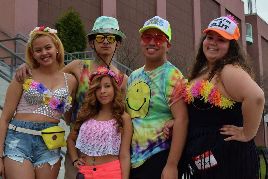 Everyone dressed 'appropriately provocative' for the Foam N' Glow electronic dance party at Webster Bank Arena Friday evening. Wild and crazy colors were glowing as the enthusiastic, mostly older teenage, crowd arrived lining up outside the complex before the party kicked off at 7pm. Were you SEEN? Photo: Todd Tracy / Hearst Connecticut Media Group