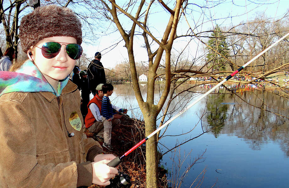 G. Korth-Rockwell, 11, tries his luck at the Fairfield PAL fishing derby Saturday at Gould Manor Park. Photo: Mike Lauterborn / Fairfield Citizen