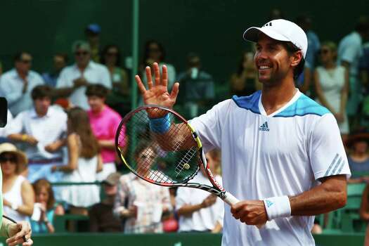 Fernando Verdasco of Spain celebrates after defeating the Colombian Santiago Giraldo at the River Oaks Country Club, Saturday, April 12, 2014, in Houston. Photo: Marie D. De Jesus, Houston Chronicle / © 2014 Houston Chronicle