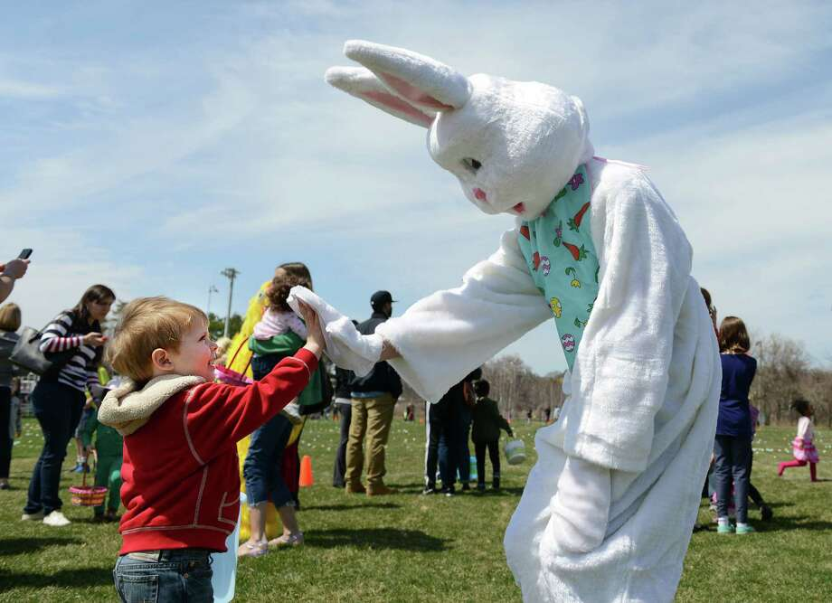 Two-year-old Jack Alperovich, of Fairfield, gives the Easter Bunny a high-five during the annual Easter Egg Hunt, Saturday, April 12, 2014, at the South Pine Creek soccer field in Fairfield, Conn. Photo: Autumn Driscoll / Connecticut Post