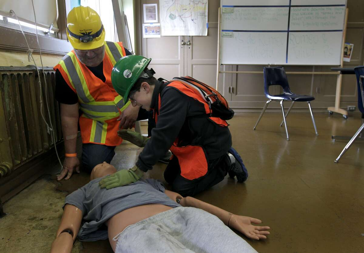 Luc Stockholm, 11, and Paul Tipp (left) triage a