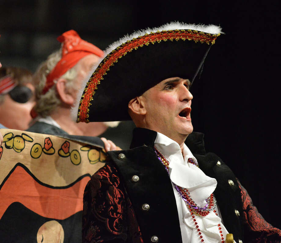 "Norwalk resident, Robert Scrofani sings ""I am a Pirate King,"" during the Troupers Light Opera production of ""The Pirates of Penzance"" at Rippowam Middle School in Stamford, Saturday afternoon, April 12, 2014. Photo: Bob Luckey / Greenwich Time"