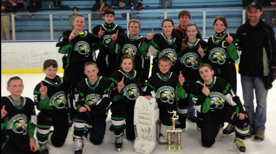 Photo provided The Clifton Park Eagles Pee Wee hockey team includes: (standing, from left) Jake Mayo, Edward Gosch, Jeffrey Salerno, Sarah McCue, Coach Dan McCue, Madi MacKinnon, Lael Breshears and Coach Steve West. Front Row, from left: Ian Furbeck, Eric Marchese, Lucas Furbeck, Erin Miller, Mike West, Tyler Buttermore. (Not pictured: Ciaran Shannon and coach Shawn MacKinnon).
