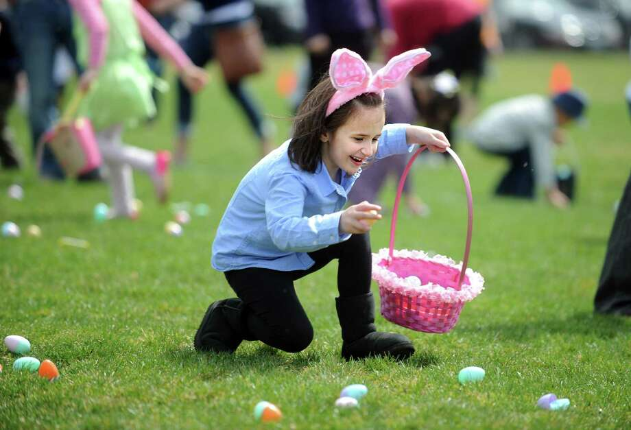 Six-year-old Sofia Fronzi, of Fairfield, races to gather as many treasure-filled eggs as she can during the annual Easter Egg Hunt, Saturday, April 12, 2014, at the South Pine Creek soccer field in Fairfield, Conn. Photo: Autumn Driscoll / Connecticut Post