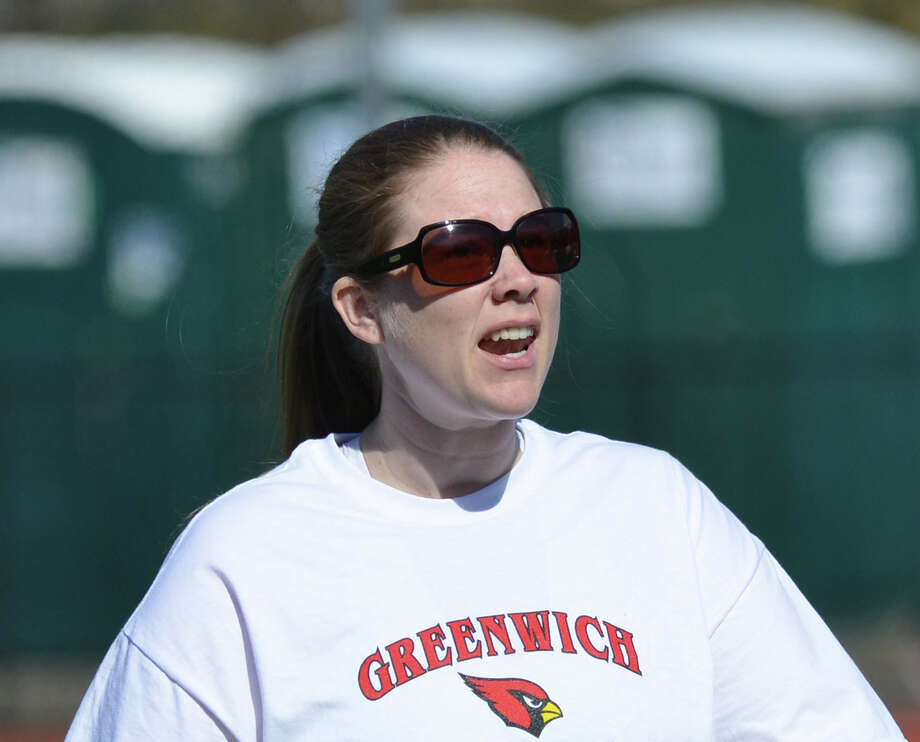 Greenwich High School girls lacrosse coach Caitlin Keane during the girls lacrosse match between Greenwich High School and Suffern High School at Greenwich, Saturday, April 12, 2014. Suffern defeated Greenwich, 15-5. Photo: Bob Luckey / Greenwich Time