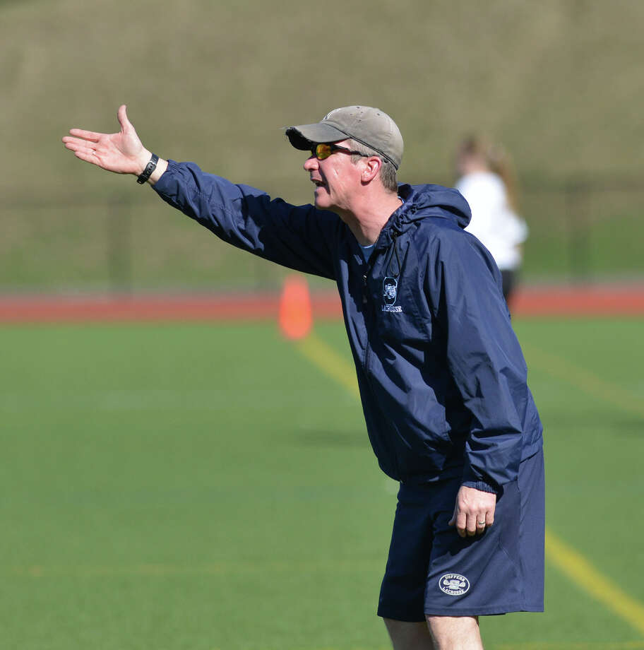 Suffern High School girls lacrosse coach John Callanan during the girls lacrosse match between Greenwich High School and Suffern High School at Greenwich, Saturday, April 12, 2014. Suffern defeated Greenwich, 15-5. Photo: Bob Luckey / Greenwich Time