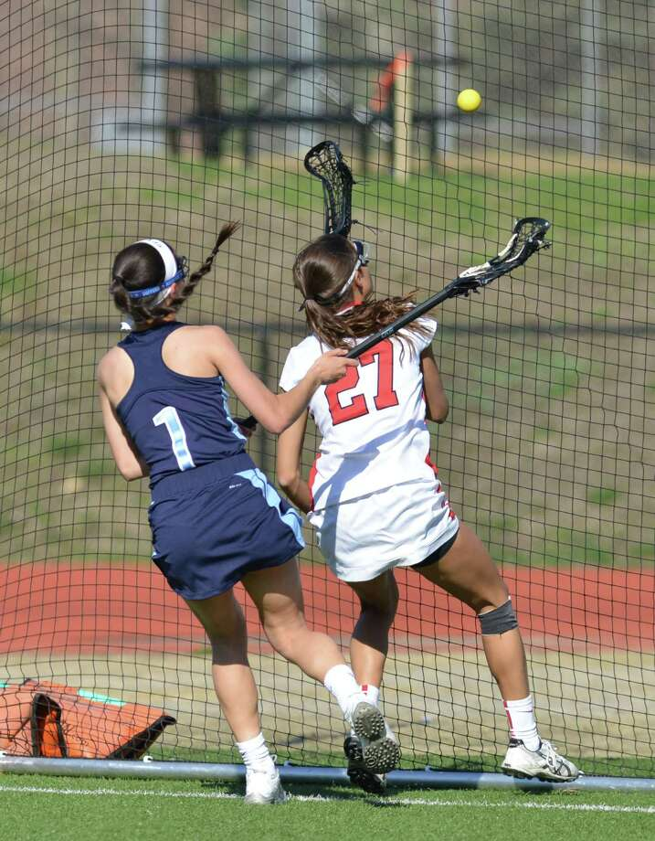 Girls lacrosse match between Greenwich High School and Suffern High School at Greenwich, Saturday, April 12, 2014. Suffern defeated Greenwich, 15-5. Photo: Bob Luckey / Greenwich Time