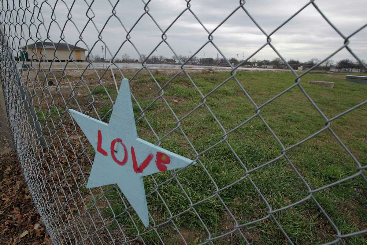 A star on the fence where the intermediate school which was destroyed by the fertilizer plant explosion in April of 2013 Tuesday, March 25, 2014, in West.