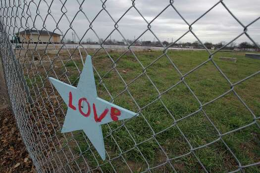 A star on the fence where the intermediate school which was destroyed by the fertilizer plant explosion in April of 2013 Tuesday, March 25, 2014, in West. Photo: James Nielsen, Houston Chronicle / © 2014  Houston Chronicle