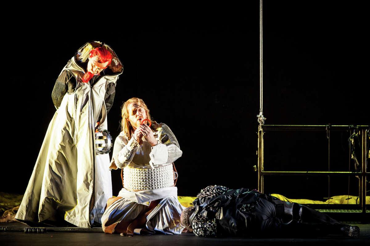 "Stefan Margita, left, plays Loge and Iain Paterson is Wotan in Houston Grand Opera's production of Richard Wagner's ""Das Rheingold."""