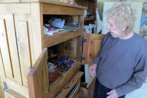 Lee started out carving with a paring knife from her kitchen, but now has a full set of woodworking tools.