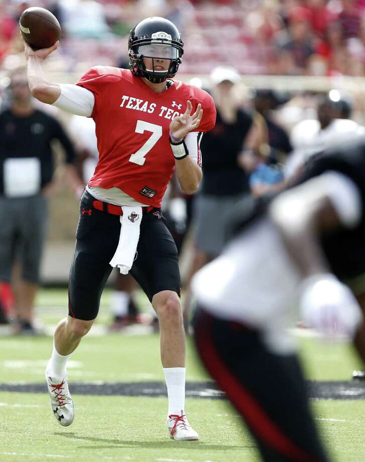 Texas Tech quarterback Davis Webb looks to throw for some of the 354 yards he compiled Saturday in the Red Raiders' spring game. He passed for four TDs and no interceptions. Photo: Tori Eichberger / Lubbock Avalanche-Journal / The Avalanche-Journal