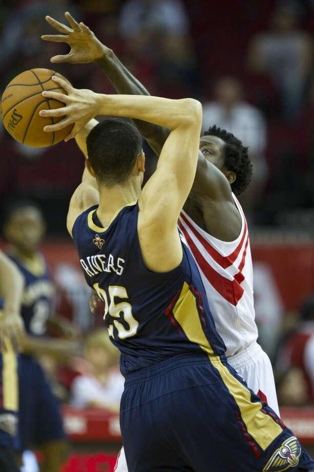 April 12: Rockets 111, Pelicans 104Rockets guard Patrick Beverley, right, defends against Pelicans guard Austin Rivers. Photo: Brett Coomer, Houston Chronicle
