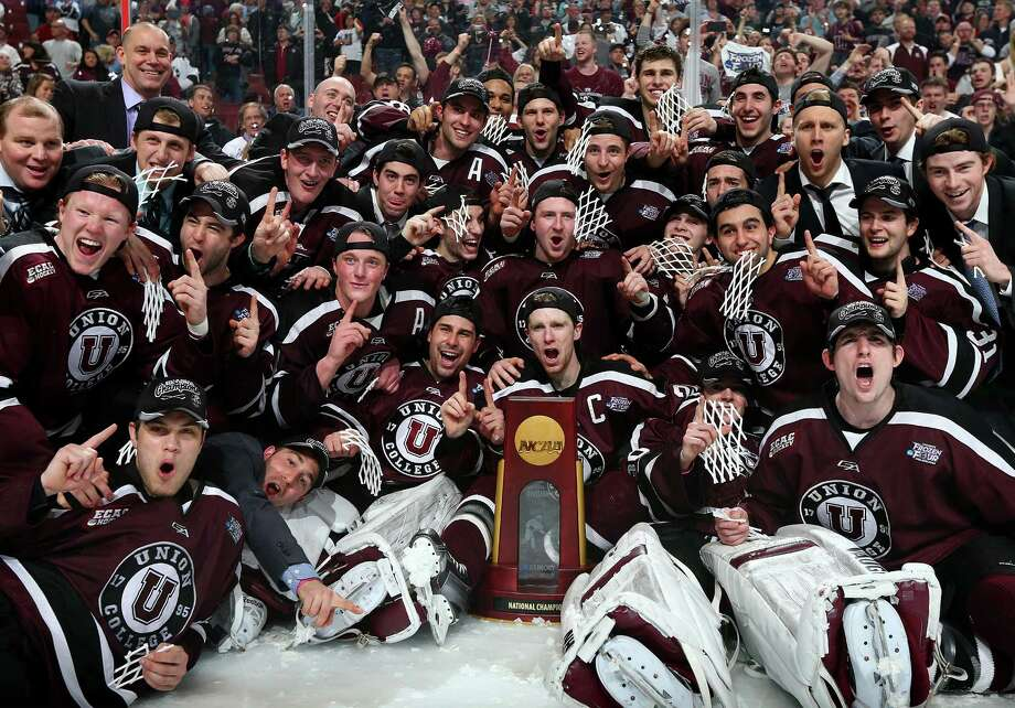 PHILADELPHIA, PA - APRIL 12:  The Union College Dutchmen celebrate their win over the Minnesota Golden Gophers during the 2014 NCAA Division I Men's Hockey Championship Game at Wells Fargo Center on April 12, 2014 in Philadelphia, Pennsylvania.The Union College Dutchmen defeated the Minnesota Golden Gophers 7-4 to win the national title.  (Photo by Elsa/Getty Images) ORG XMIT: 464911487 Photo: Elsa / 2014 Getty Images