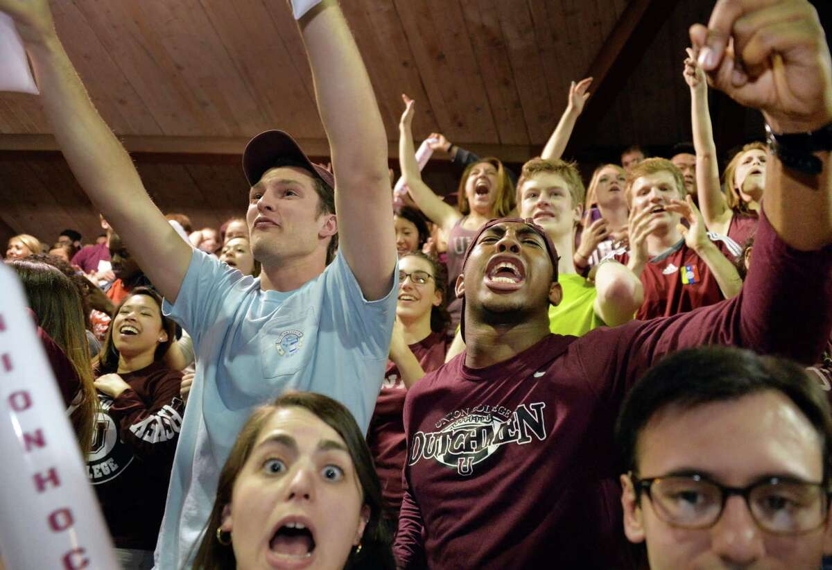 Union College students cheer on their team wins the NCAA final at a viewing party of Union College's hockey team in the NCAA final from Philadelphia at Messa Rink April 12, 2014, in Schenectady, NY. (John Carl D'Annibale / Times Union)