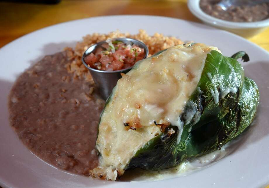 Chicken and cheese stuffed poblano pepper at Lupe Tortilla in Beaumont. 2050 I-10 S in Beaumont. Photo taken Wednesday, April 2, 2014 Guiseppe Barranco/@spotnewsshooter
