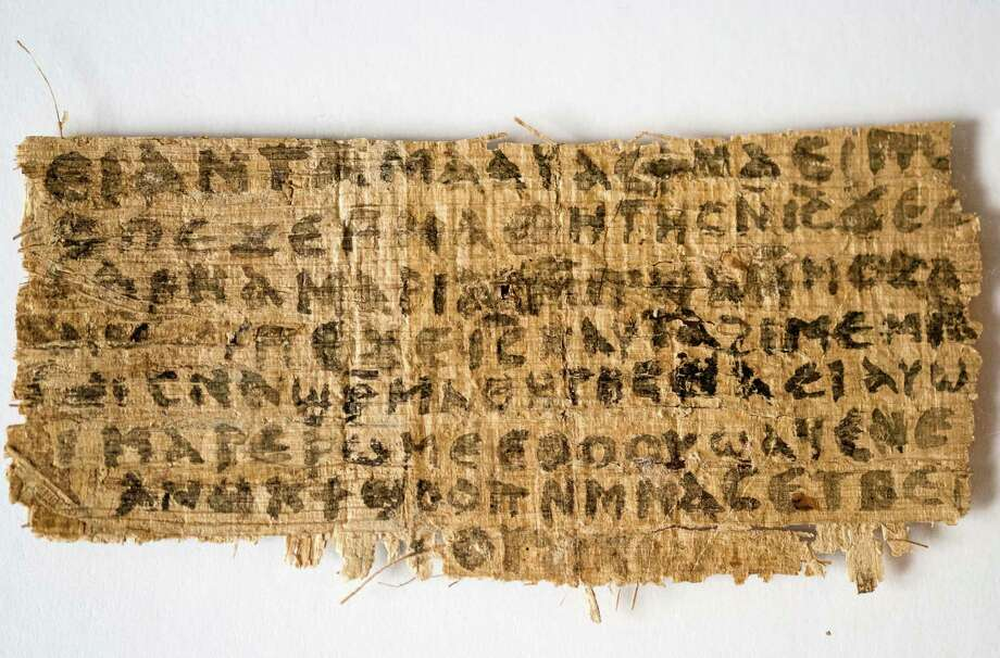 This Sept. 5, 2012 file photo released by Harvard University shows a fragment of papyrus that divinity professor Karen L. King said is the only existing ancient text that quotes Jesus explicitly referring to having a wife. An article published in the Harvard Theological Review on Thursday, April 10, 2014, said new scientific tests suggest the fragment is more likely an ancient document than a forgery. King, an expert in the history of Christianity, said the papyrus probably dates to eighth-century Egypt based on carbon dating tests and tests on the ink's chemical composition. Photo: Karen L. King, AP  / AP2014