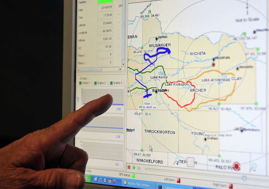 In this March 19, 2014 file photo, a graph shows the flight path of Saturday's cloud seeding operation which seeded clouds in a storm system moving west to east through the watersheds of Lake Kemp, Lake Kickapoo and Lake Arrowhead, the three reservoirs for Wichita Falls, Texas. Wichita Falls is so far behind on rainfall that its leaders are asking state regulators for permission to use treated toilet flushes as drinking water. Photo: Torin Halsey, AP  / Wichita Falls Times Record News