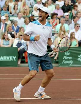 Fernando Verdasco (ESP) celebrates after defeating Nicolas Almagro (ESP) ) 6-3, 76 in the singles finals on April 13, 2014 at the U.S. Men's Clay Court Championship at River Oaks in Houston, TX. . Photo: Thomas B. Shea, For The Chronicle / © 2014 Thomas B. Shea