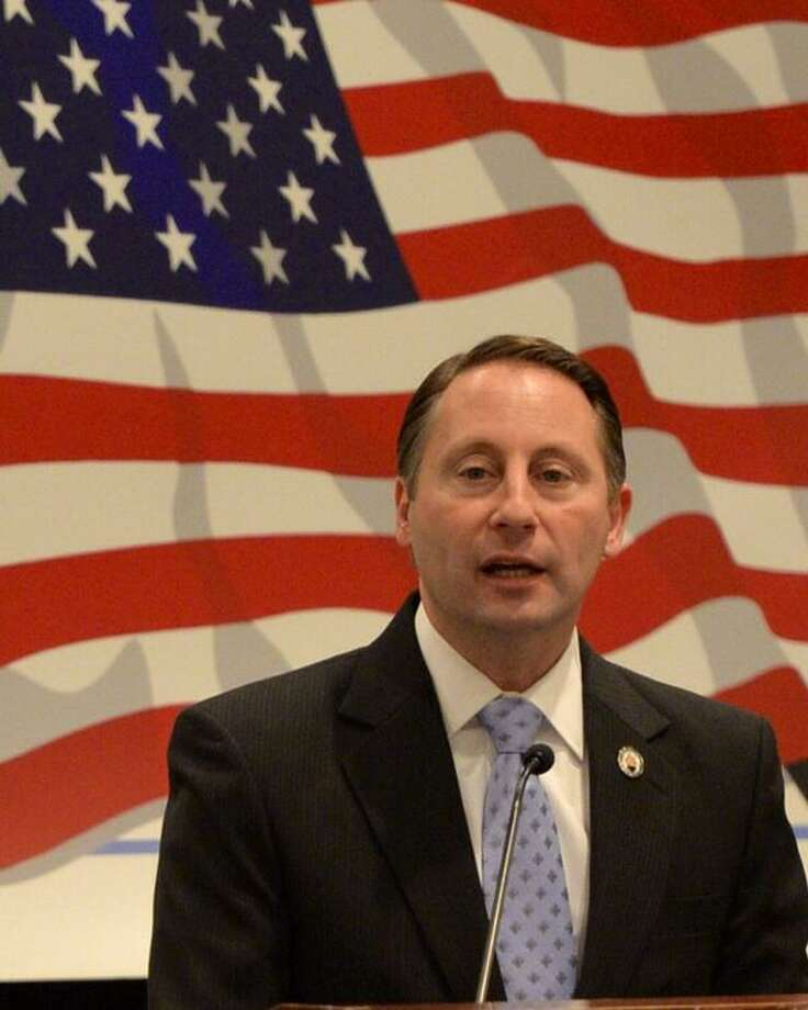 Rob Astorino, the Westchester County executive and potential Republican candidate for governor, addresses leaders of the state's Conservative Party on Monday. The group is gathering at the Holiday Inn Turf on Wolf Road in Colonie. (Skip Dickstein / Times Union)