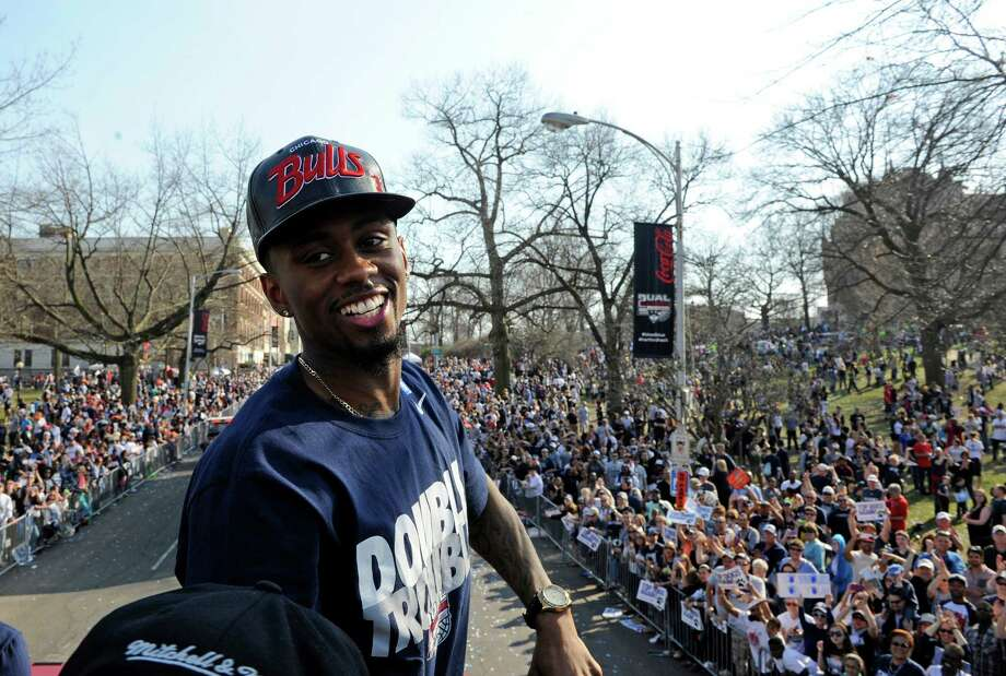 Connecticut's Ryan Boatright smiles during a parade celebrating the men's basketball team's in the NCAA tournament, in Hartford, Conn., on Sunday, April 13, 2014. Photo: Fred Beckham, AP / Associated Press