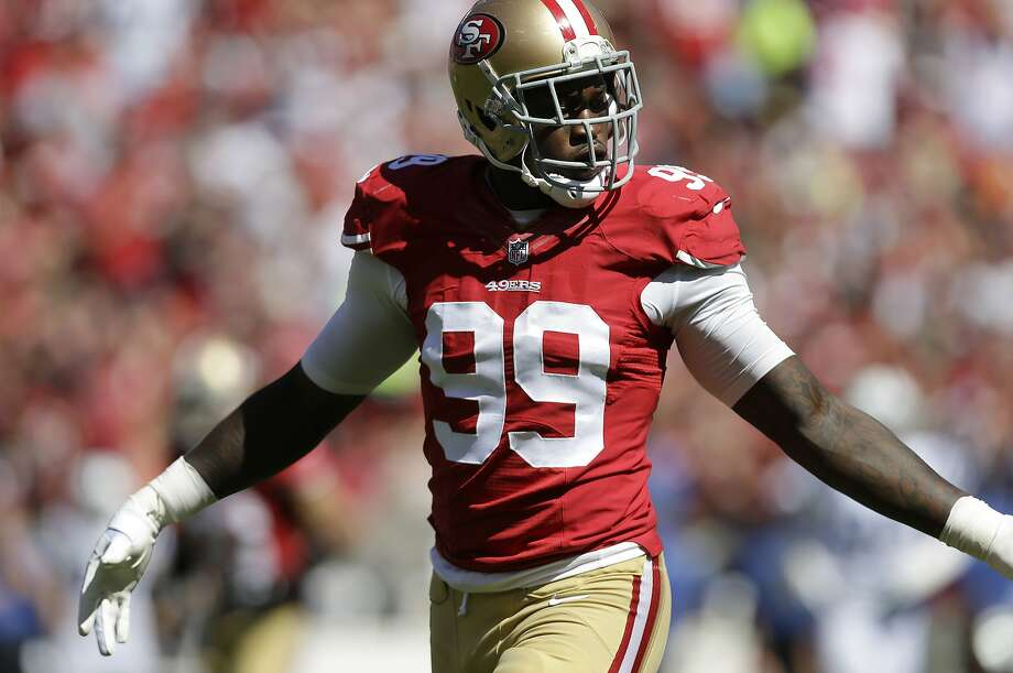San Francisco 49ers linebacker Aldon Smith (99) against the Indianapolis Colts during the first half of an NFL football game in San Francisco, Sunday, Sept. 22, 2013. (AP Photo/Marcio Jose Sanchez) Photo: Marcio Jose Sanchez, Associated Press