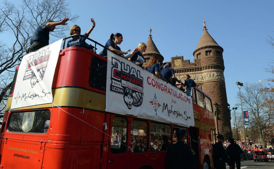 A Victory Parade and Rally for the UConn Men's and Women's Basketball teams in downtown Hartford, Conn. on Sunday April 13, 2014. Photo: Christian Abraham / Connecticut Post